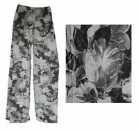 New Plus Size Womens Floral Print Ladies Wide Leg Palazzo Trousers UK 8 - 26