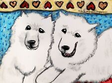 SAMOYED Furever Friends 8x10 ART PRINT of PAINTING BY KSams Vintage Style Dogs