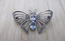Vintage Multi-Stone Sterling Silver Butterfly Brooch Pendant 12.2grams 10-H6432