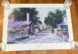 Vintage Poster Print Ray Ellis Siasconsett Lane Watercolor ©1987 NewYork Graphic