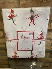 Pottery Barn Kids Christmas Holiday Elf organic Queen size Sheet Set new