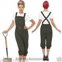 CL226 WW2 Land Girl Wartime Outfit 1940's Army Fancy Dress Costume