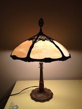 Antique Arts & Crafts Tiffany Style Slag Glass Double Chain Pull Lamp