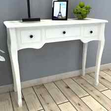 White Wooden Dressing Console Table with 3 Drawers Living Room Dining Hallway