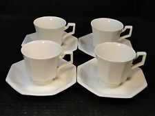 "FOUR Johnson Brothers Heritage Ironstone White Cups Saucer(6"") 4 Sets England"