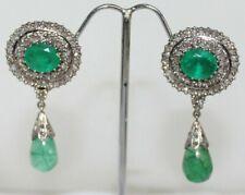 Silver Wedding Anniversary Dangler Earring 3.90ct Rose Cut Diamond Emerald 925