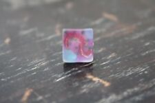 Vtg Estate Gold Tone Magenta/Blue/Gold Swirled Frosted Glass Stone Tie Tack/Pin