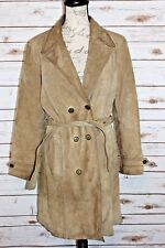 WILSONS Maxima Large Light Brown Suede Leather Button Down Belt Jacket Coat