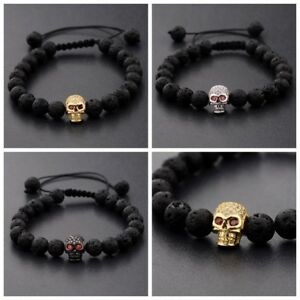 Man's Zircon Skull Head 8mm Black Lava Stone Macrame Bracelets Fashion Jewelry