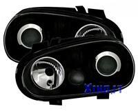 Fari Fanali Anteriori STILE R32 NERI VW GOLF 4 IV LENTICOLARI GTI fondo black 19