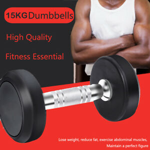 15kg Dumbbells Cast Iron Rubber Encased Home Gym Fixed Weight