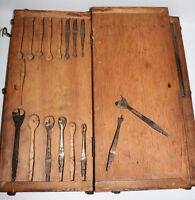 ANTIQUE Fenton & Marsdens drill brace bits w/fancy quality walnut burl wood case