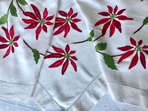 """Antique Linen Tablecloth Hand Embroidery Poinsettia Hemstitch Square 120cm / 47"""""""