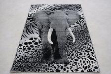 Quality Grey Elephant Rug 120cm x 170cm Jungle Safari Animal Print Twist