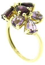 9Carat 9ct yellow gold cluster ring flower pattern size N amethyst Iolite stones