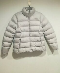 The North Face Womens Grey 700 Nuptse Goose Down Filled Puffer Jacket Large Coat