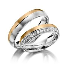 10K TWO TONE GOLD HIS & HERS DIAMOND WEDDING BANDS SATIN FINISH