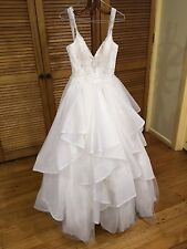White Tiered Embellished Princess Wedding Dress SIZE 10