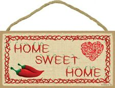 "Home Sweet Home Red Chili Pepper Wood Sign with Heart Cute 10 ""x 5"" NEW 335"