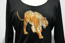 Vintage 70s Polyester Shirt Top Blouse Tiger & Rhinestones sz 18