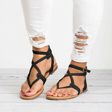 US Womens Rome Gladiator Sandals Travel Bohemia Strappy Thong Summer Flat Shoes