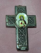 VTG  RELIGION JEWELRY - CZECH ANTIQUE 1920 miniature ROSARY N CROSS PENDANT BOX