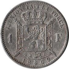 1869 Belgium 1 Franc Silver Coin KM#28.1