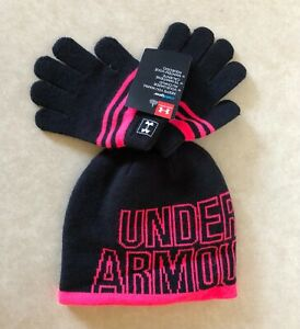 NWT Under Armour Boys Knit Beanie Hat Gloves Set 4-6 years