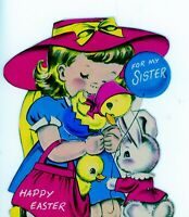 Vintage Norcross Double Wish Greeting Card Easter Girl Duck Rabbit 3062