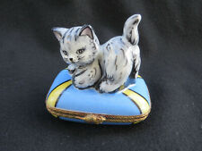 Limoges Gr France Grey Stripe Kitty Cat on Pillow w/ mouse Trinket Box Signed