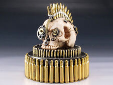 Steampunk Skull with Bullets Trinket / Jewelry Box Figurine Statue Skeleton