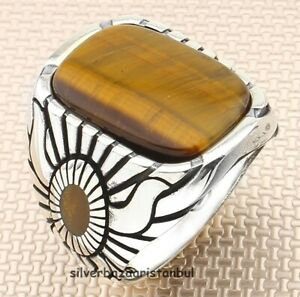 Free Handmade Red Agate Aqeq Stone 925 Sterling Silver Turkish Men Ring All Size