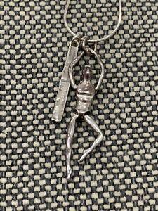 Vintage Opulenza Israel Signed Sterling Silver Pendant Necklace Male Mannequin