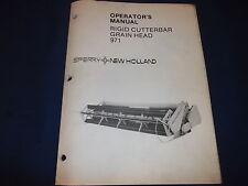 Sperry New Holland 971 Grain Head Rigid Cutterbar Operation Maintenance Manual