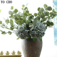 Artificial Eucalyptus Gold Money Grass Fake Leaf Plant Green Bouquet Accessory