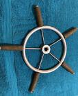 Vintage Wood & Aluminum Sailboat Steering Wheel Marine Boat 5 Spoke