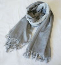 100% Pure Wool Women Long Warm Scarf Winter Pashmina Shawl Light Grey Reversible