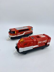 Tomy Tomica Trackmaster Hypercity Red Motorized 911 Emergency & Fire-Liner Train