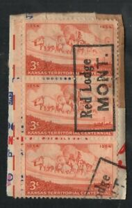 US #1061, strip of 3, with boxed straight line cancels of Red Lodge, Montana.