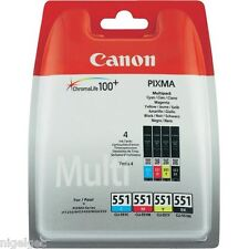 Canon CLI551 CLI-551 ORIGINALI inchiostri 4 Pack inchiostri Pixma IP7250 MG5450 MG6350