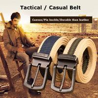 Mens Womens Unisex Casual Canvas Plain Webbing Waist Belt  Metal Buckle Belt