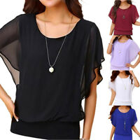 Womens Casual Summer Short Sleeve Blouse T Shirt Ladies Loose Chiffon Beach Tops