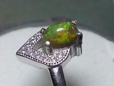 Ring Silver 925 with Beautiful Natural Ethiopian Solid Black opal