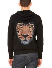 Interstate Apparel Mens Huge Leopard Face Black//Camo Raglan Baseball Hoodie Black