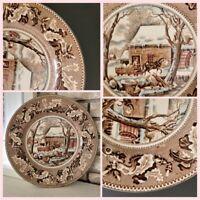Vintage Johnson Bros Frozen Up Thanksgiving Historic America Dinner Plate