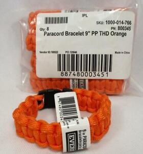 """Lot of 8 Everbilt 9"""" Paracord Emergency Survival Bracelet Safety Orange Hiking"""