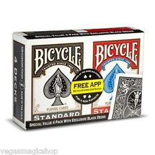 Bicycle Playing Cards 4 Deck Set Red & Black Poker Size USPCC 808 Rider Back New