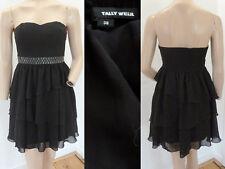 Tally Weijl Kleid Cocktailkleid Party Mini Bustieroberteil Volants Schwarz 38 1A