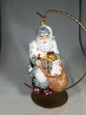 Vintage Inspired Polish Handmade Mouthblown Glass Santa on Chair decoration box