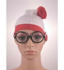 Where's Wally Hat Glasses Adults Kids Cartoon Fancy Dress Costume Accessories